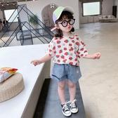 女童純棉短袖t恤2020年夏季6歲童裝新款夏裝小童女寶寶草莓上衣潮 童趣