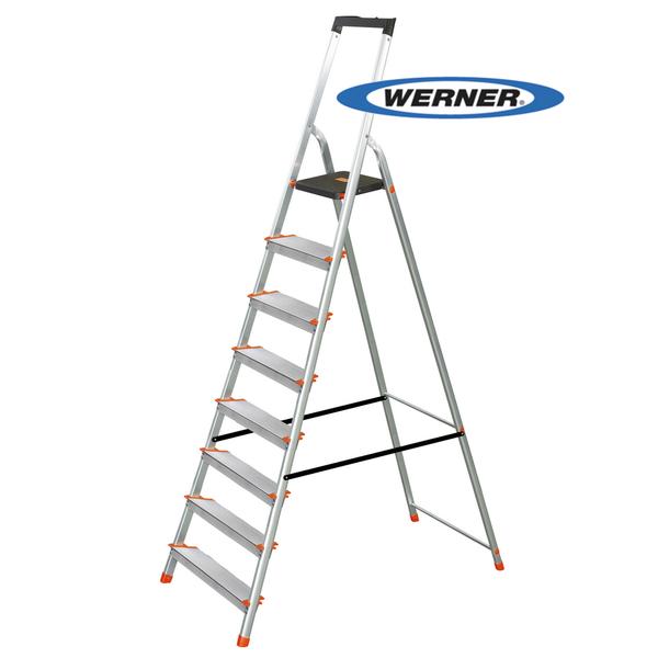 美國Werner穩耐安全梯-L238R-2 鋁合金寬踏板8階梯 大平台 鋁梯 A字梯 梯子