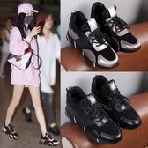 運動鞋女春季新款內增高女鞋韓版百搭厚底休閒單鞋黑色跑步鞋 可然精品
