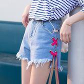 蝴蝶結系帶毛邊牛仔闊腿短褲高腰寬鬆熱褲女【名谷小屋】