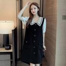 洋裝長版衣娃娃領M-4XL中大尺碼棉花糖减齡透氣顯瘦中長款連身裙4F022.2308韓依紡