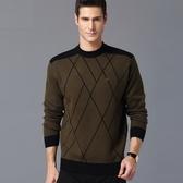 毛衣圓領針織衫-羊毛百搭加厚套頭格子新款男上衣3色72k2【巴黎精品】