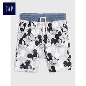 Gap x Disney男嬰幼童 迪斯尼系列 兒童印花休閒短褲夏季 468065-淺麻灰