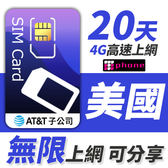 AT&T 美國無限通話上網型 可分享8GB超大流量 20天