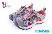 美國TEVA 中童護趾涼鞋 透氣 避震 繩索式 水陸機能涼鞋I6765#灰紫◆OSOME奧森鞋業