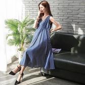 初心 無袖洋裝 【D0382】 韓國 條紋 V領 高腰 長裙 無袖洋裝 長洋裝 可哺乳