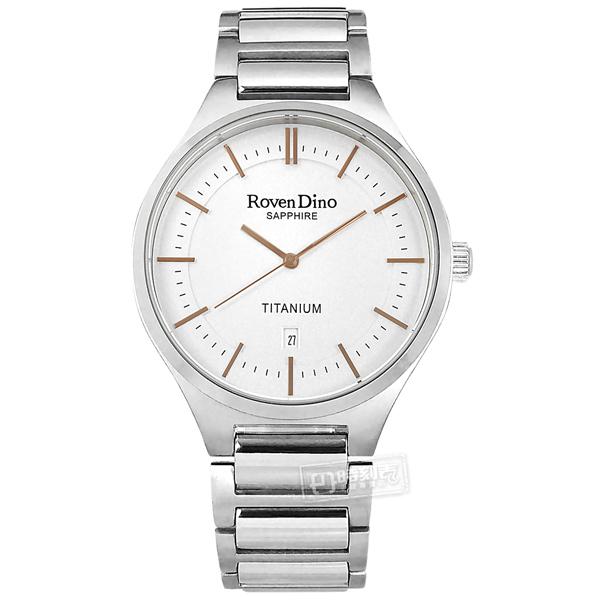 羅梵迪諾 Roven Dino / RD781TI白 / 簡約時尚 藍寶石水晶玻璃 日期 鈦金屬手錶 白色 43mm