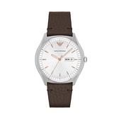 【Emporio Armani】美式經典復古簡約雙日曆時尚腕錶-質感棕/AR1999/台灣總代理公司貨享兩年保固