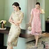 漢服古裝日常旗袍中長時尚短袖改良少女蕾絲連身裙小香風