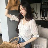 韓版百搭抽繩系帶v領木耳邊短袖雪紡衫修身顯瘦半袖上衣女夏  蓓娜衣都