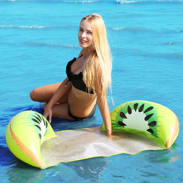 熱銷充氣水上帶網浮床水果吊床雙用靠背浮排泳池躺椅網紅男女沙發