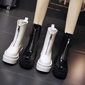 楔型鞋 馬丁靴女夏季薄款中筒2020新款百搭厚底內增高英倫風煙管正韓短靴