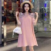 初心 百褶裙 【D2051】 雪紡 拼接 蕾絲 雪紡 娃娃領 短袖 洋裝 洋裝