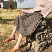 高腰A字百褶半身裙女秋冬2018新款毛呢百搭針織中長款大擺傘裙
