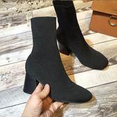 彈力布粗跟毛線小短靴高跟女靴女鞋潮