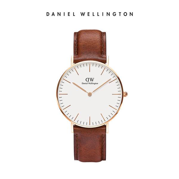 DW手錶 淺棕真皮皮革