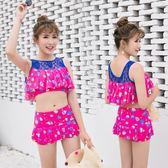 時尚泳衣女韓版修身平角沙灘游泳分體兩件套性感露腰顯瘦泳裝  米蘭shoe