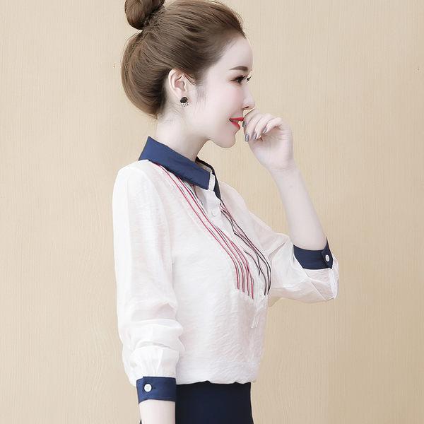 VK精品服飾 韓系氣質豎彩條條紋領雪紡襯衫時尚長袖上衣
