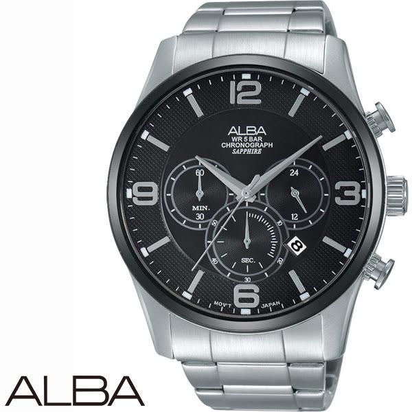 ALBA 咖啡錶盤計時三眼黑鋼男錶x45mm・VD57-X081U AM3349X1|名人鐘錶高雄門市