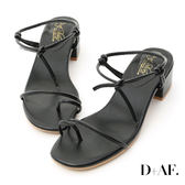 D+AF 夏日清新.一字細帶綁結低跟涼鞋*黑