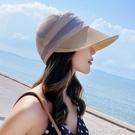 復古優雅草編遮陽帽海邊透氣日本遮陽逛街出游褶皺翹邊草帽女春夏 樂活生活館