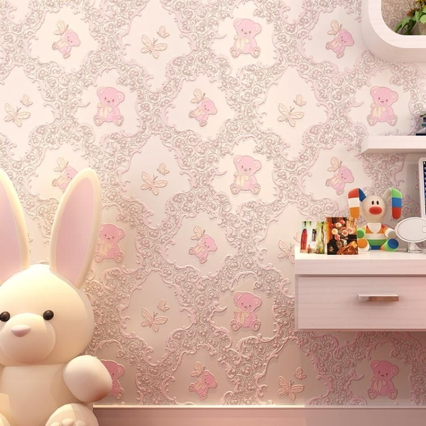 牆紙自黏臥室溫馨女孩宿舍裝飾粉色兒童房卡通立體無紡布家用壁紙 電購3C