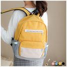 後背包-簡約字母皮標馬卡龍拼色後背包-共4色-A12121859-天藍小舖