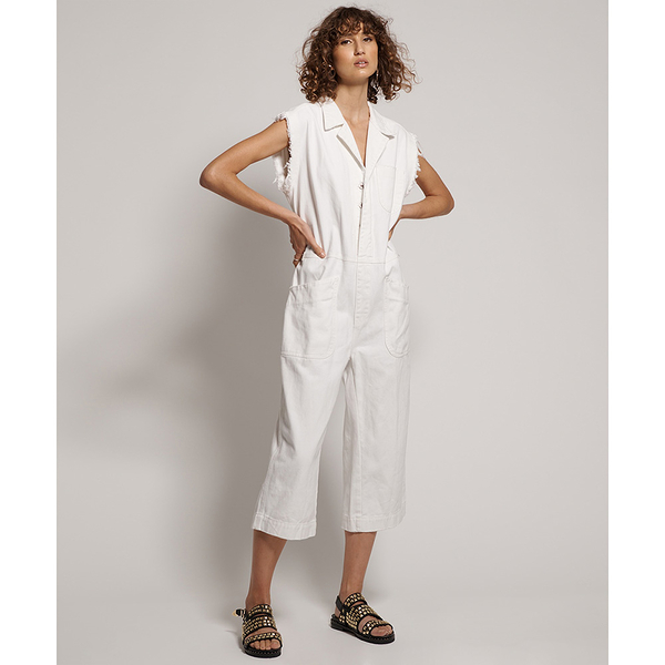 ONETEASPOON    NATURAL WHITE  PARADISE SAFARI  無袖連身長褲 -白(女)