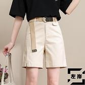 工裝短褲女夏季薄款寬鬆休閒褲中褲潮高腰闊腿5五分褲【左岸男裝】