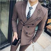 【新年鉅惠】 夏季雙排扣西服套裝男士英倫修身新郎伴郎西裝三件套男結婚禮服潮
