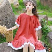 文藝寬鬆條紋撞色棉麻短袖連身裙【99狂歡購物節】