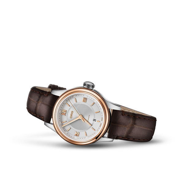 Oris豪利時 Classic Date 都會時尚機械女錶-玫塊金框x咖啡/28.5mm 0156177184371-0751432