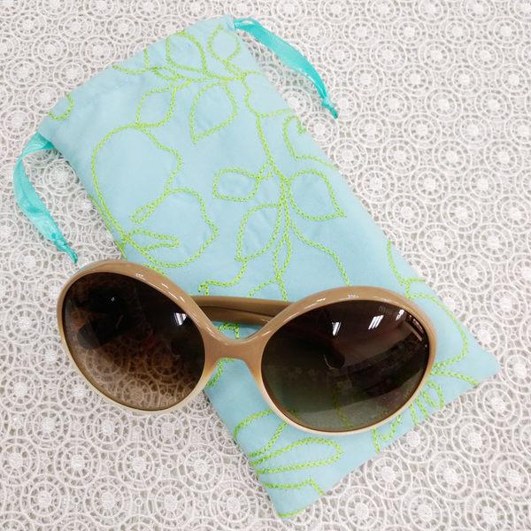 藍綠繡花 太陽眼鏡袋 眼鏡收納包 眼鏡束口袋*Mita*MI-0977