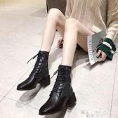馬丁靴女粗跟英倫風2021新款夏季襪靴短靴中跟網面透氣彈力瘦瘦靴 喜迎新春