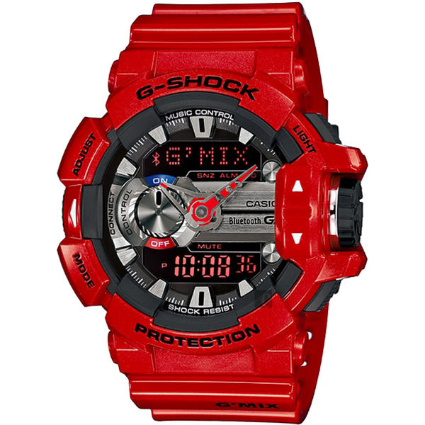 CASIO 卡西歐 G-SHOCK 藍芽音樂控制錶-紅 GBA-400-4ADR / GBA-400-4A
