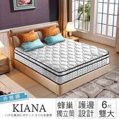 IHouse 奇雅娜 護邊平三線蜂巢獨立筒床墊-雙大6x6.2尺