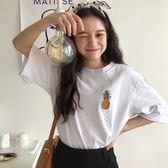 (T-1427)寬鬆休閒圓領鳳梨可愛圖案白色半袖上短袖T恤