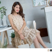 《DA5746》甜美女孩小花朵印無袖蛋糕洋裝 OrangeBear
