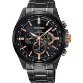 SEIKO Criteria 台灣限定太陽能計時碼錶-黑X玫瑰金
