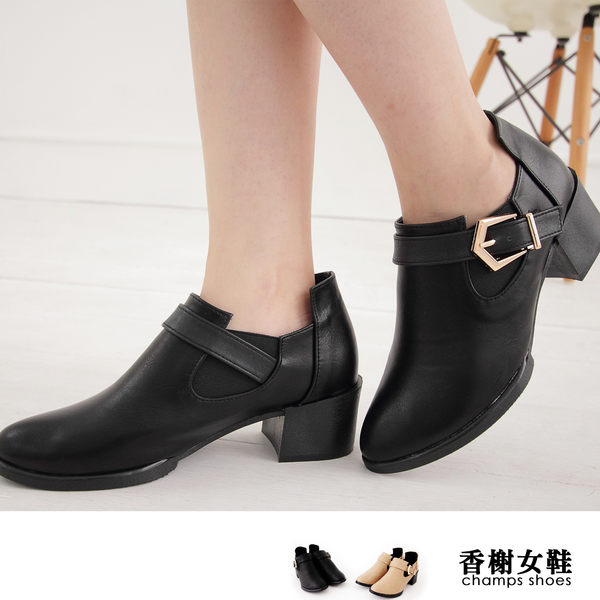 短靴 M.I.T.扣飾尖頭粗跟踝靴 香榭