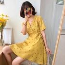 中大尺碼洋裝 小香風夏裝2020年新款法式顯瘦女裝胖mm碎花氣場連衣裙子高貴雪紡 歐歐