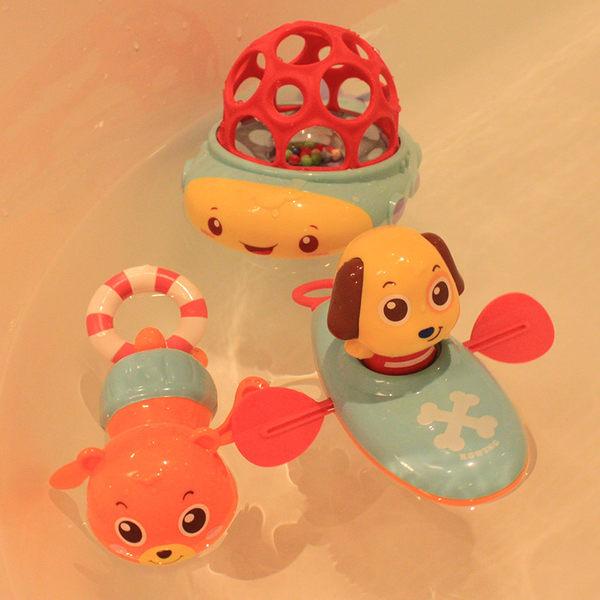 洗澡戲水玩具游泳拉繩劃水拉線上弦上勁發條玩水玩具嬰幼兒漂浮