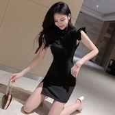 洋裝 新式改良旗袍連衣裙2019少女年輕款黑色性感顯瘦中國風短款包臀裙