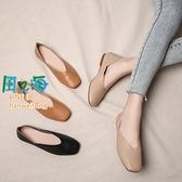 樂福鞋 淺口豆豆鞋女夏季軟皮奶奶鞋復古平底方頭單鞋女春秋【風之海】