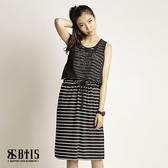 【BTIS】條紋文字雪紡 背心洋裝  / 黑白條