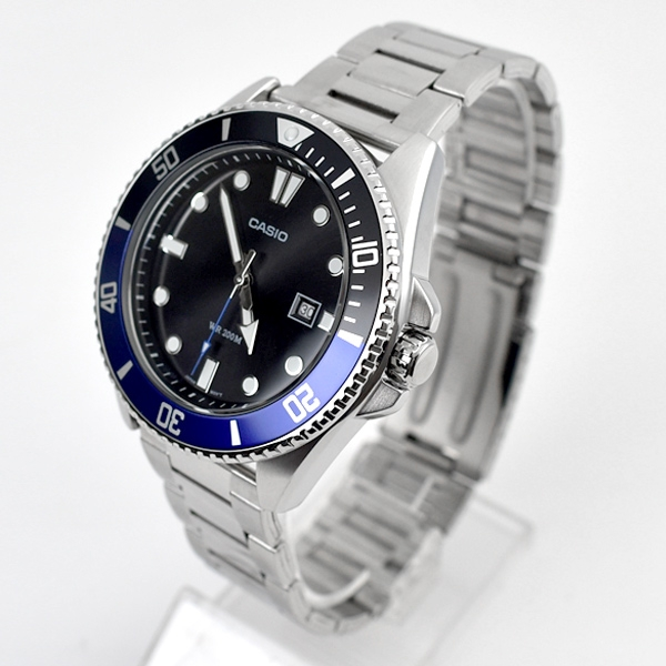 CASIO手錶 藍黑水鬼鋼錶NECE55