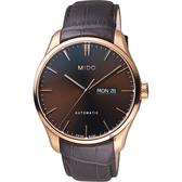 MIDO美度 Belluna Gent 經典日期機械錶-咖啡x玫塊金框/42mm M0246303629100