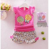 套裝 韓 棉T 透氣 棒棒糖女孩 短袖上衣+短褲 二色 寶貝童衣