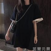 假兩件T恤 胖mm夏裝新款年拼色假兩件短袖t恤女韓版寬松中長款上衣潮ins 至簡元素