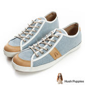 Hush Puppies 沉穩質感咖啡紗休閒鞋-淺藍